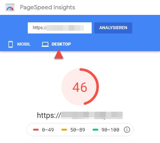 Google PageSpeed Ergebnis für Desktop-Gerät