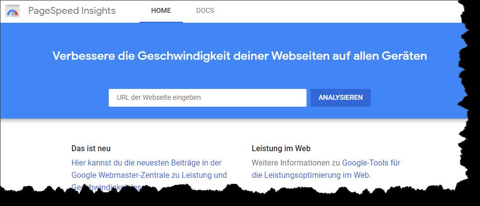 Webseiten-Performance testen mit Google PageSpeed Insights