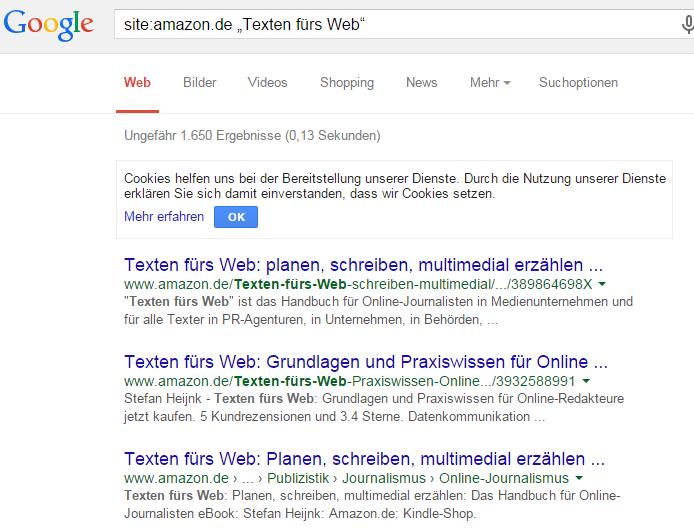 Ergebnisse: Texten fürs Web Google-Website-Suche