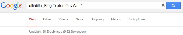 Ergebnisse: Texten fürs Web Google-Blog-Suche