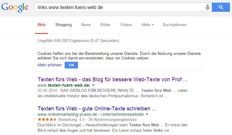 Ergebnisse: Texten fürs Web Google-Verlinkungs-Suche