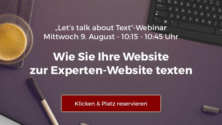 """""""Let's talk about Text""""-Webinar: Wie Sie Ihre Website zur Experten-Website texten"""