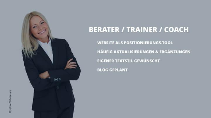 Webtexte schreiben lassen für Beratung, Training, Coaching
